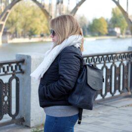Женский синий рюкзак ручной работы