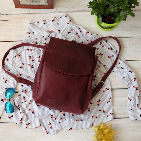 рюкзак кожаный бордо