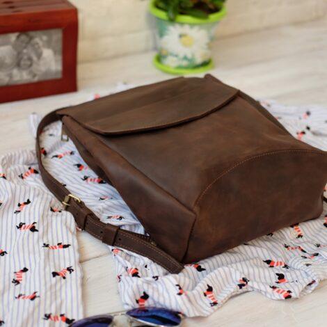 Темно коричневый женский рюкзак