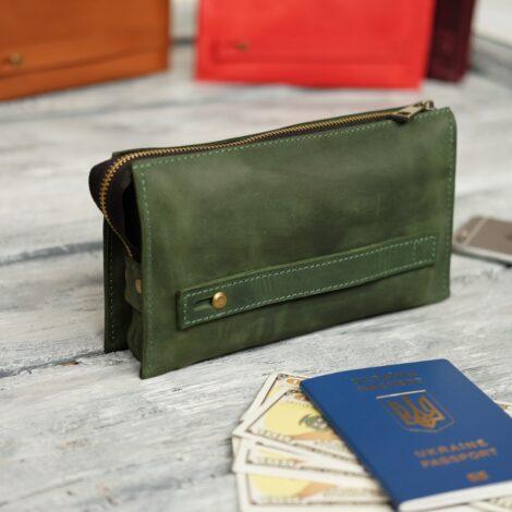 кожаный зеленый клатч