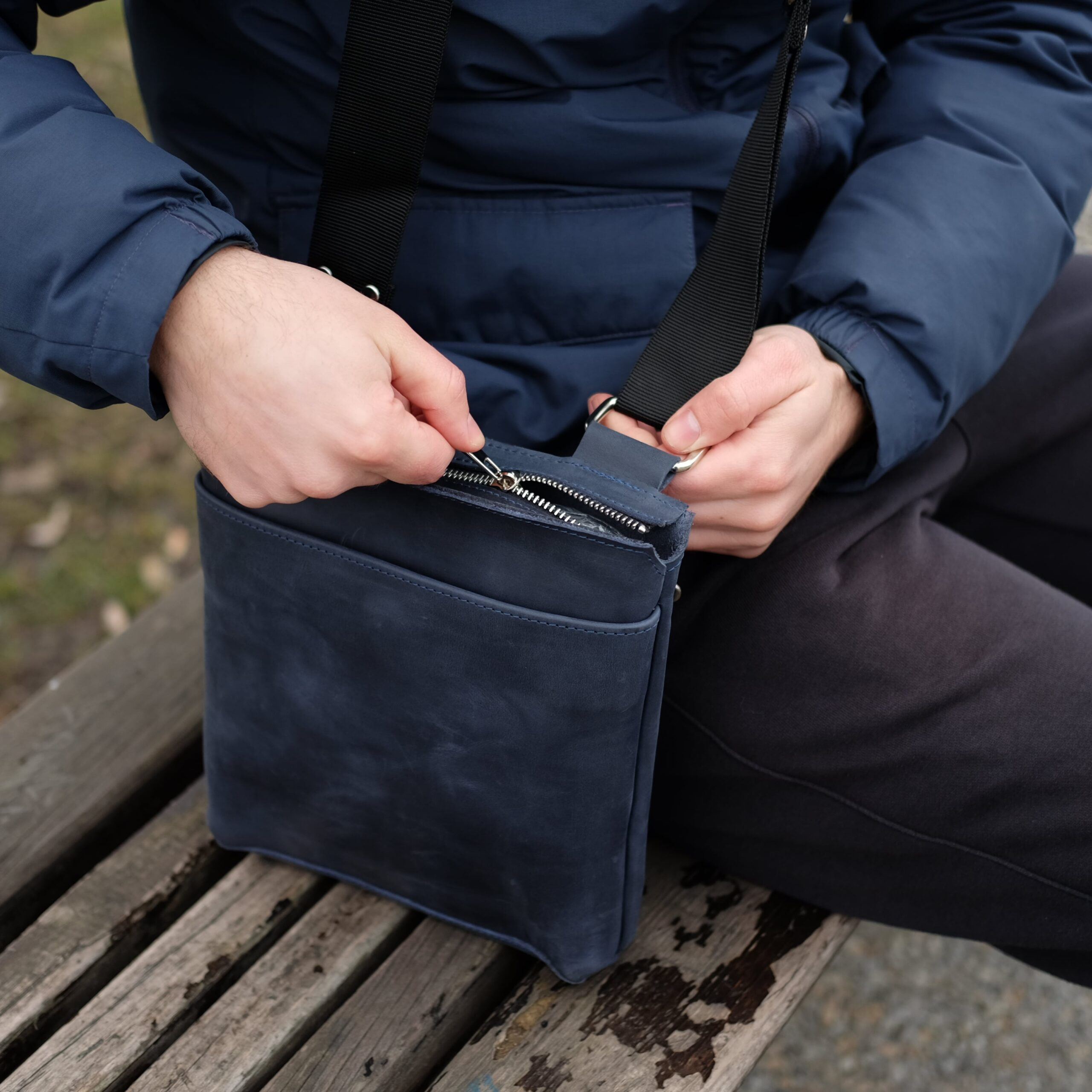 мужская синяя сумка