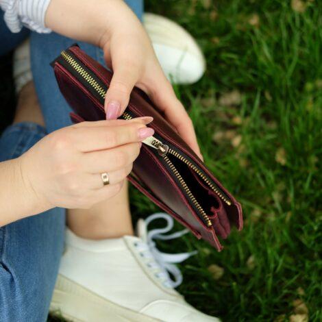 кошелек с ручкой бордо