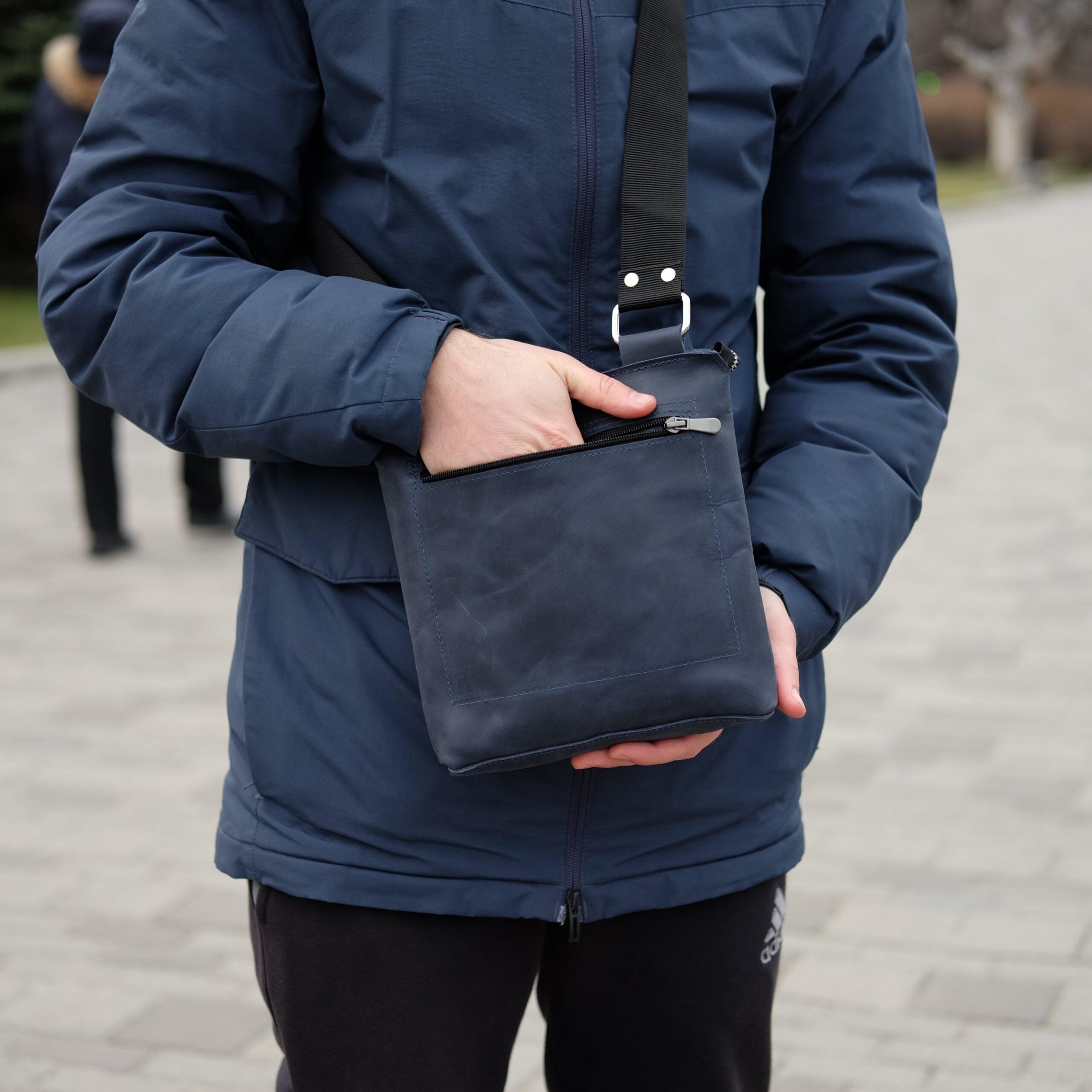мужская синяя барсетка