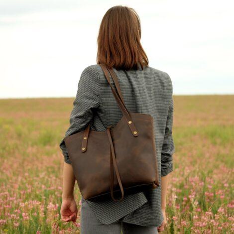 шоколадная кожаная сумка