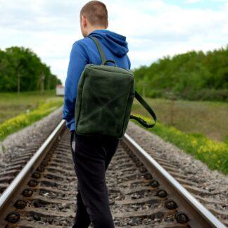 зеленый кожаный рюкзак