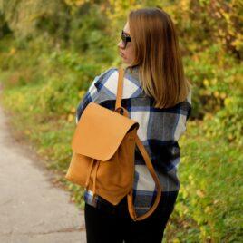 песочный кожаный рюкзак