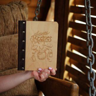 деревянный блокнот для рецептов